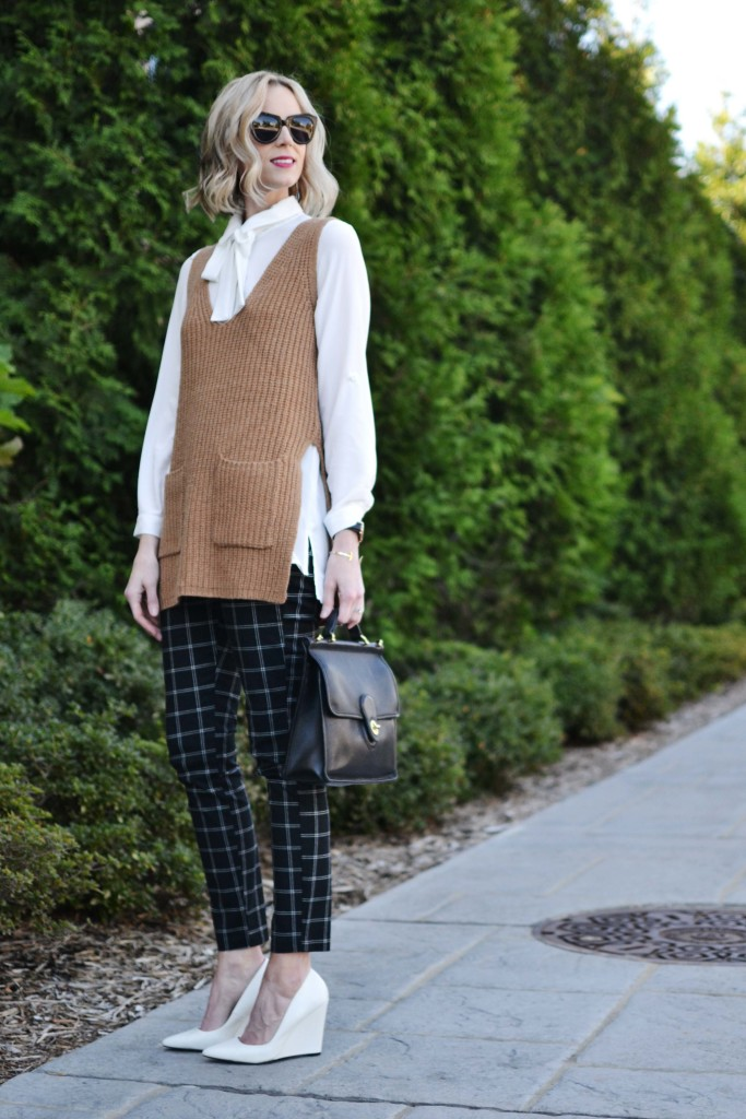 Gap Factory slim city pants, bow top, camel vest, white heels 1