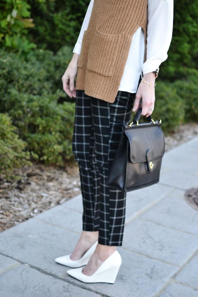 Gap Factory slim city pants, bow top, camel vest, white heels details