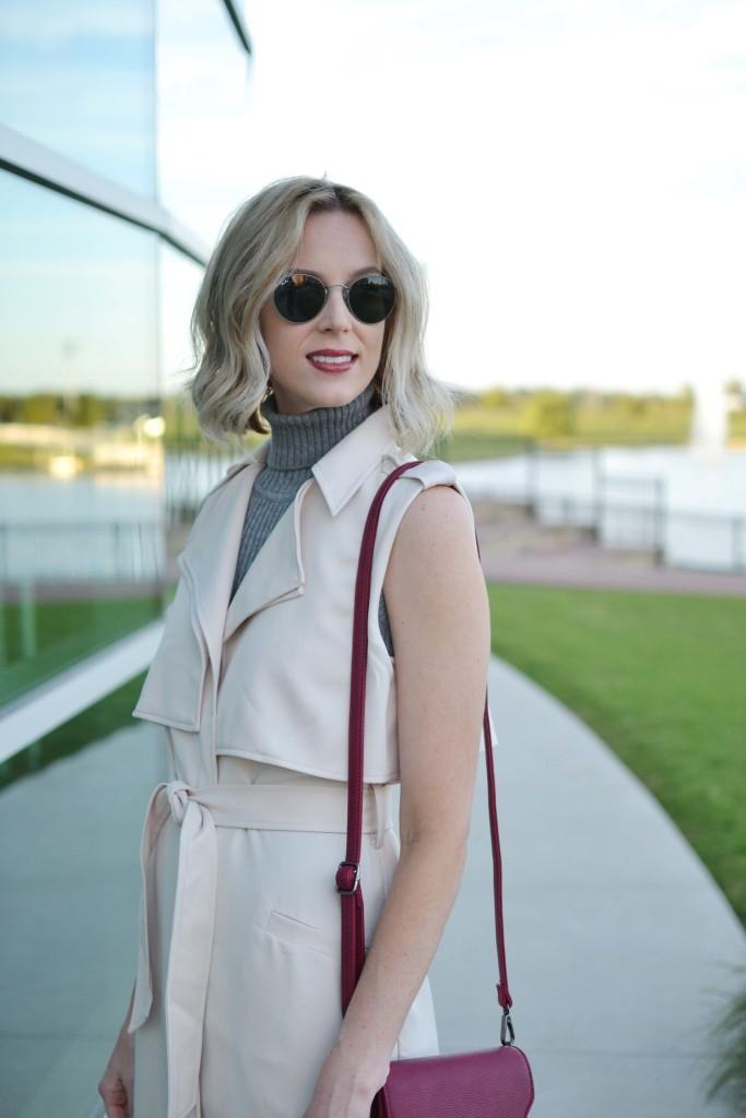 LuLu*s sleeveless vest, turtleneck dress, maroon bag