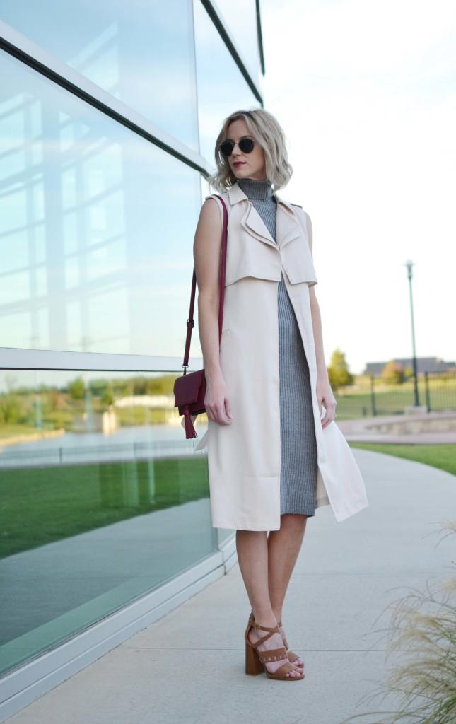LuLu*s sleeveless vest, turtleneck dress, maroon bag, 70s heels