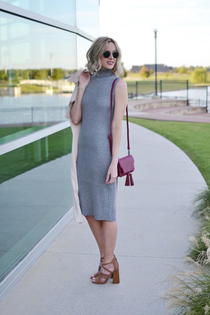 LuLu*s sleeveless vest, turtleneck dress, maroon bag, 70s heels, roud ray-bans
