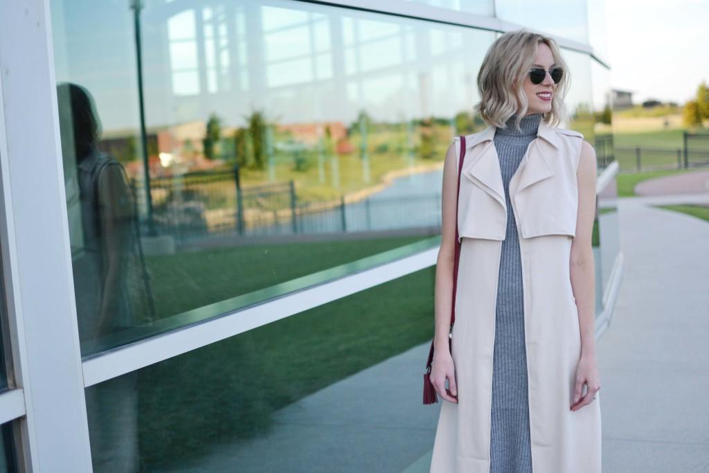 LuLu*s sleeveless vest, turtleneck dress, maroon bag, round ray-bans