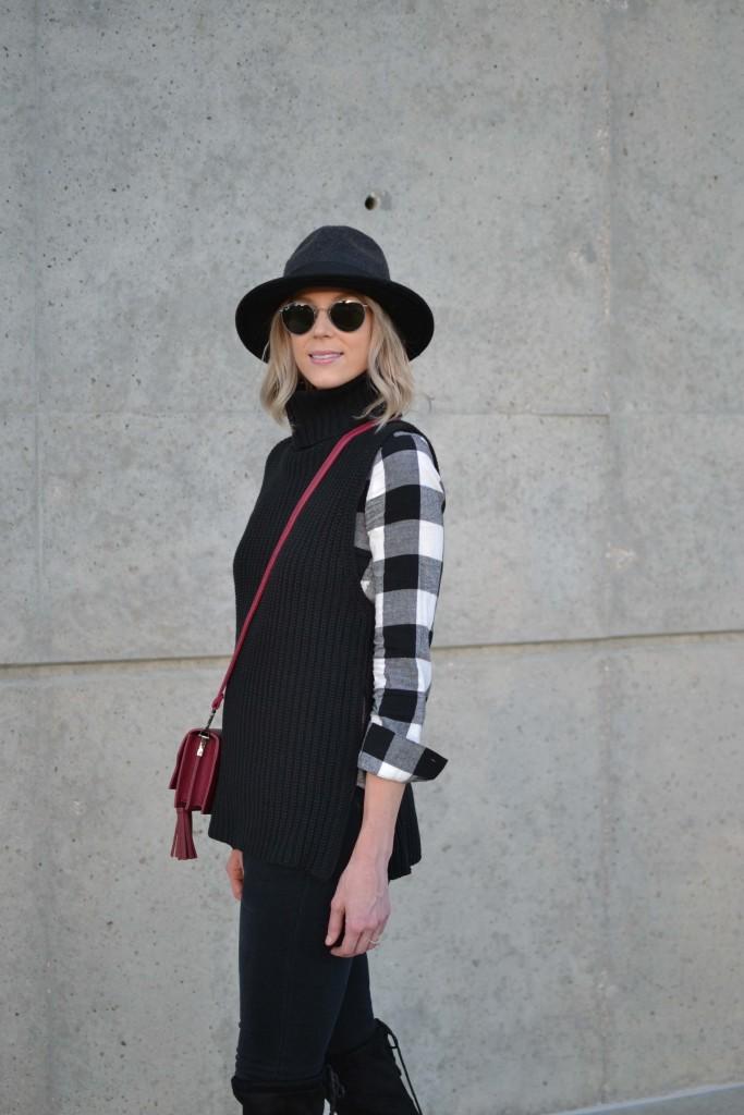 black jeans, plaid shirt, hat
