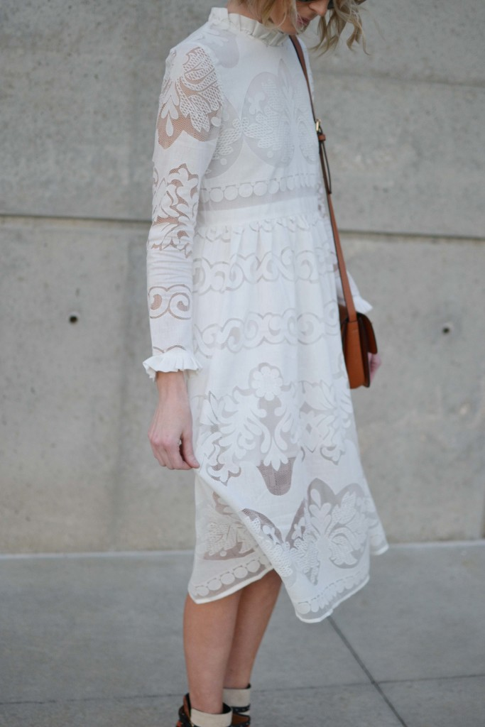 while lace dress