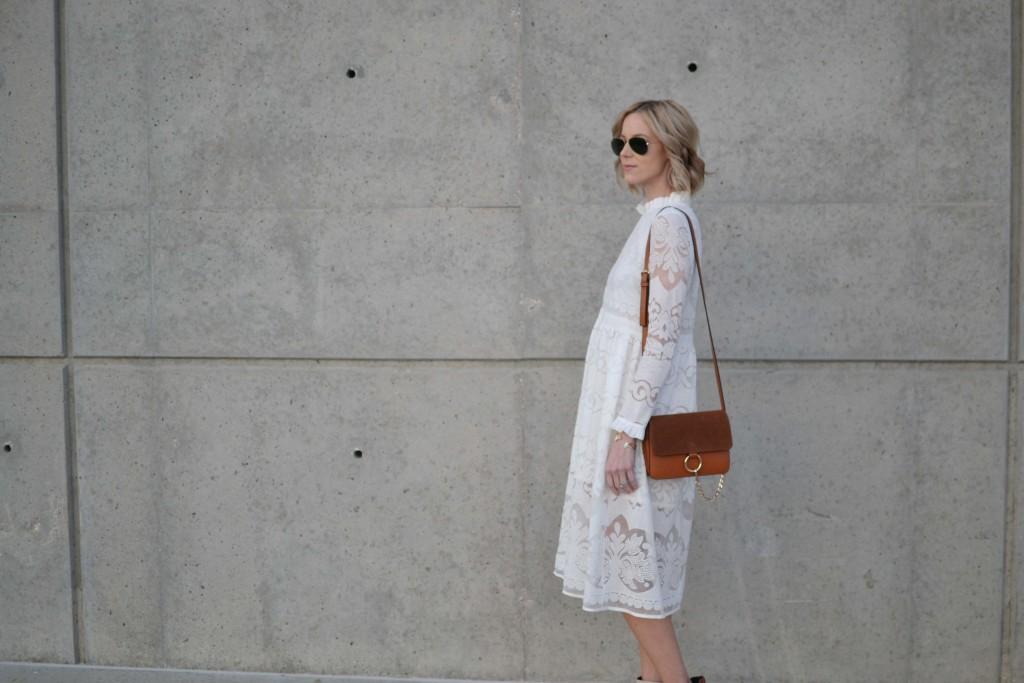 while lace dress, chloe dupe bag, ray-bans