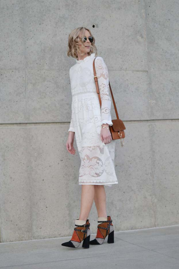 while-lace-dress-chloe-dupe-bag-ray-bans-aviators-patchwork-booties