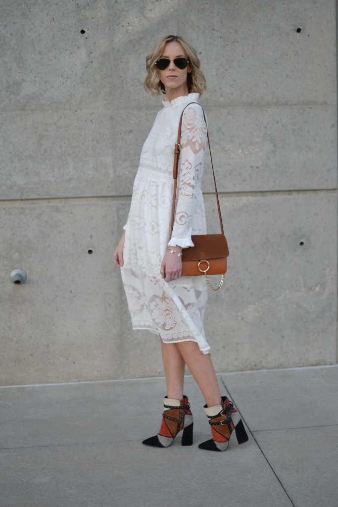 while lace dress, patchwork booties, chloe dupe bag, ray-bans