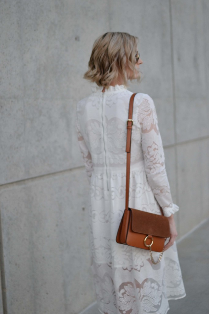 white lace dress, chloe dupe bag