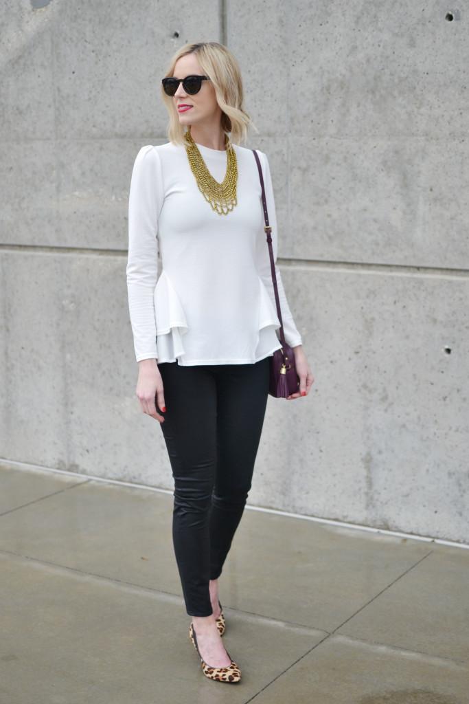 GiGi NY bag, Chicwish white top, Purple Peridot bib necklace, black coated jeans