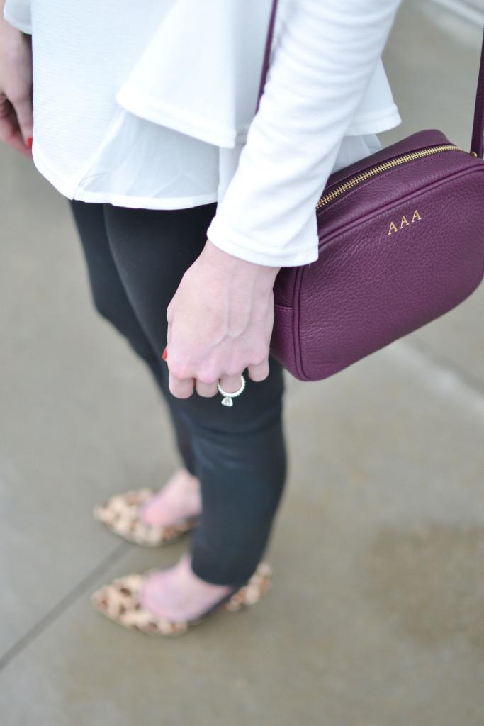 GiGi NY bag, Chicwish white top, Purple Peridot bib necklace, leopard heels, black coated jeans