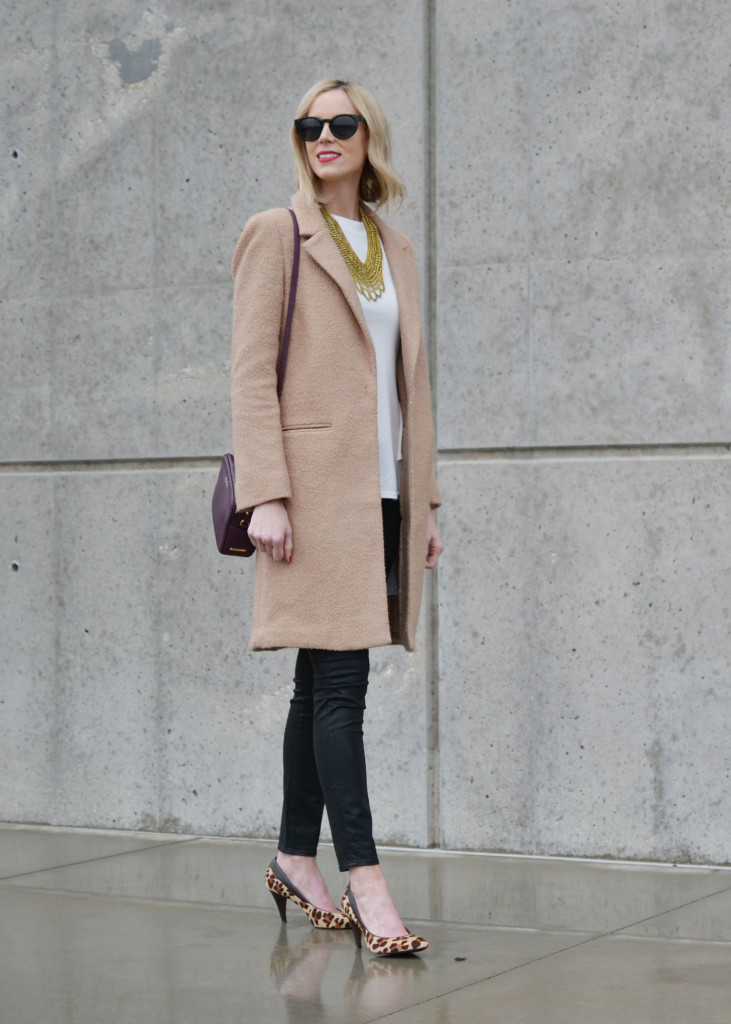 GiGi NY bag, Chicwish white top, Purple Peridot bib necklace, tan coat, black coated jeans