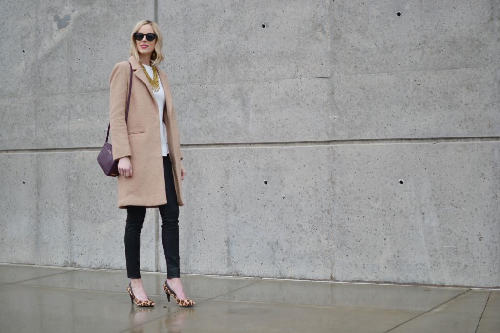GiGi NY bag, Chicwish white top, Purple Peridot bib necklace, tan coat, leopard heels