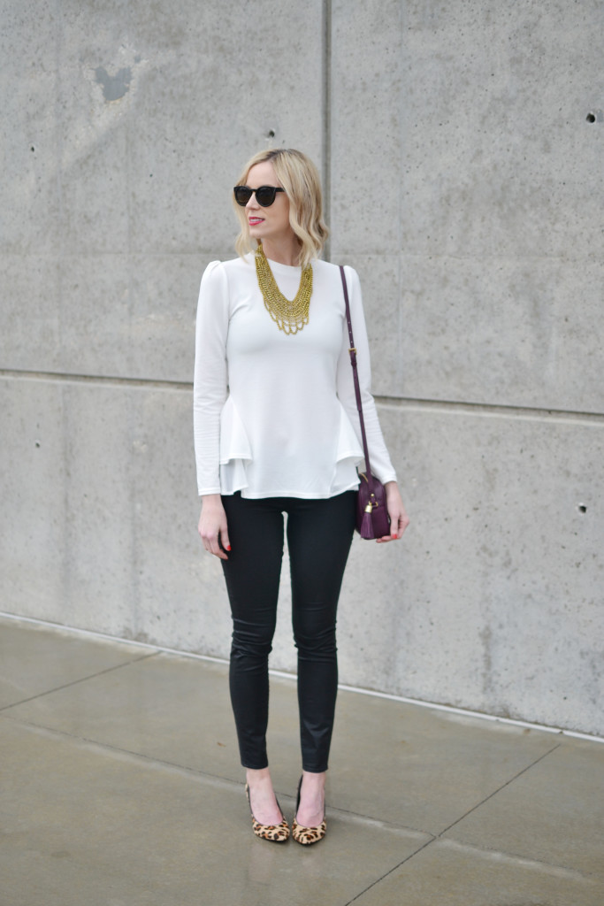 GiGi NY bag, Chicwish white top, black coated jeans, Purple Peridot bib necklace