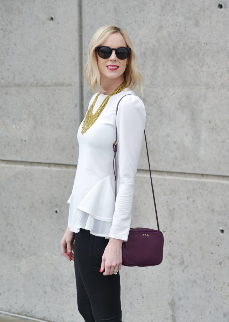 GiGi NY wine colored bag, Chicwish white top, Purple Peridot bib necklace