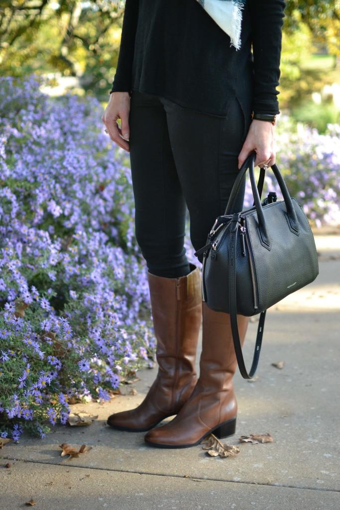 Naturalizer tall boots, black jeans, black sweater, black bag