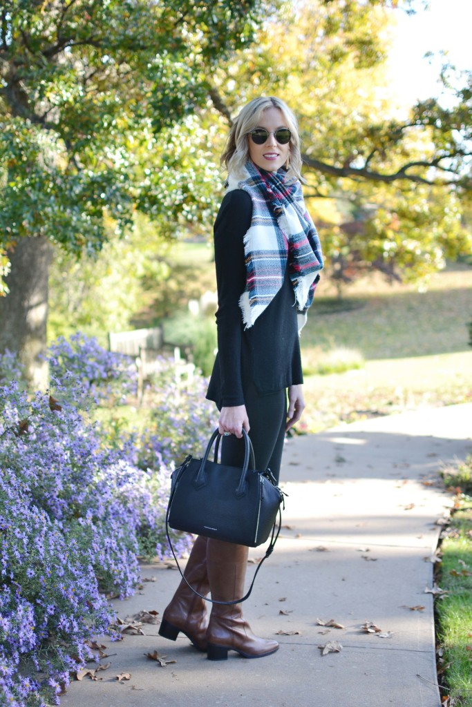 Naturalizer tall boots, black jeans, black sweater, blanket scarf