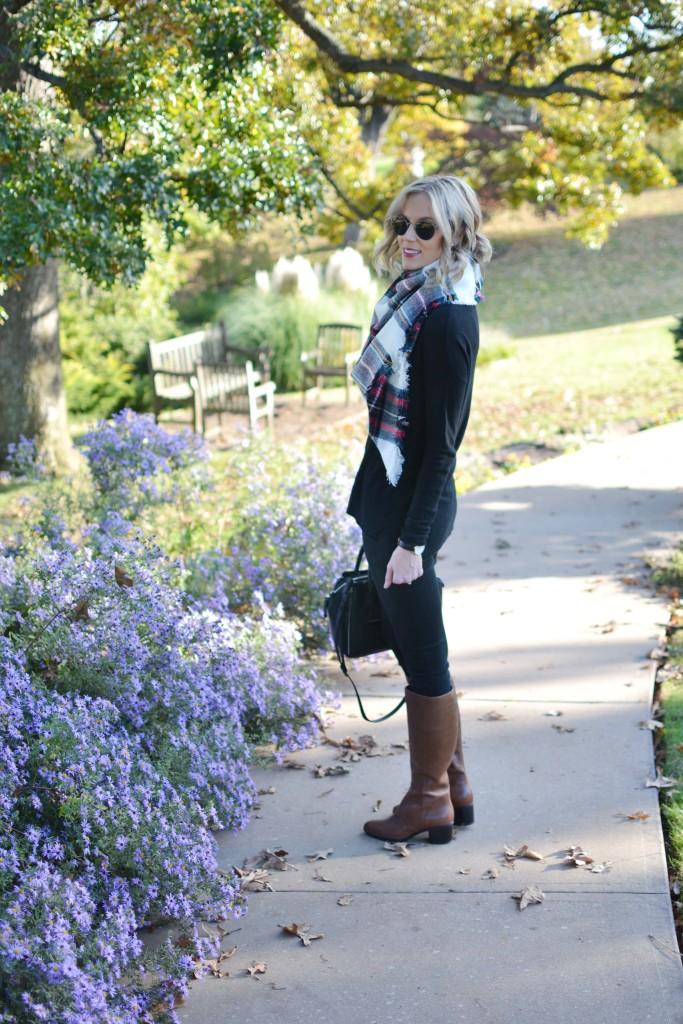 Naturalizer tall boots, black jeans, black sweater, blanket scarf, Rebecca Minkoff bag