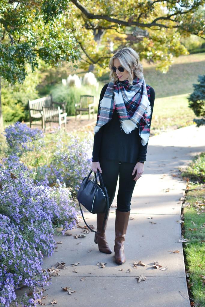 Naturalizer tall boots, black jeans, black sweater, pliad blanket, black bag scarf