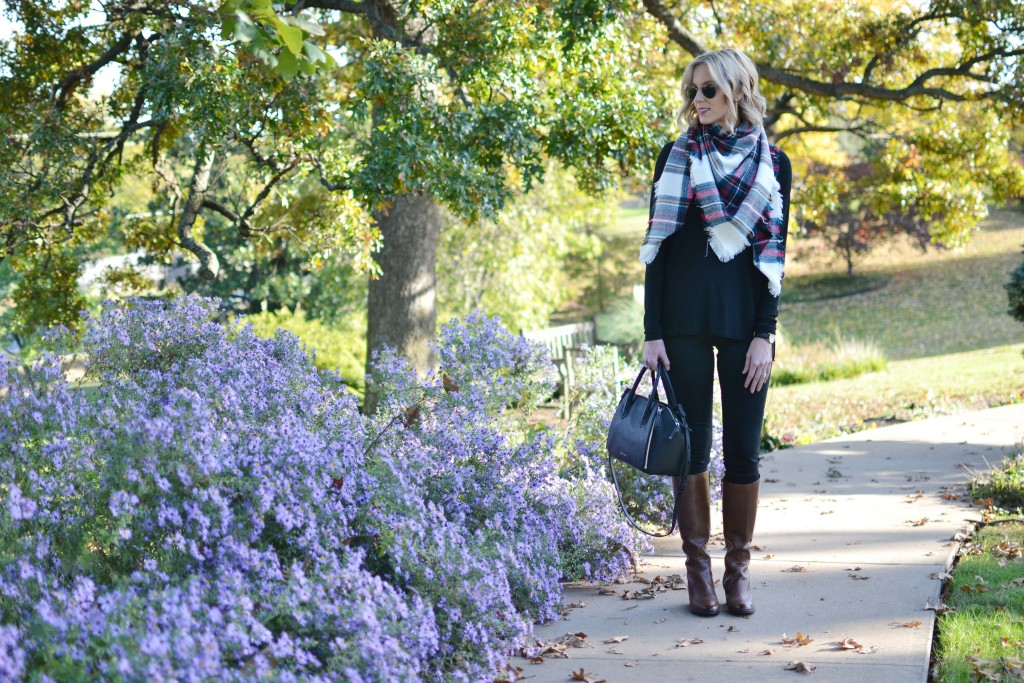 Naturalizer tall boots, black skinny jeans, black sweater, blanket scarf