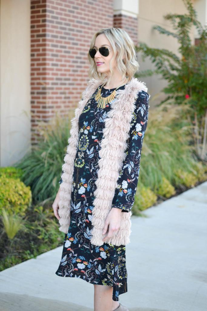 Oasap midi dress, Rebecca Minkoff bag, WAYF vest, ray-bans