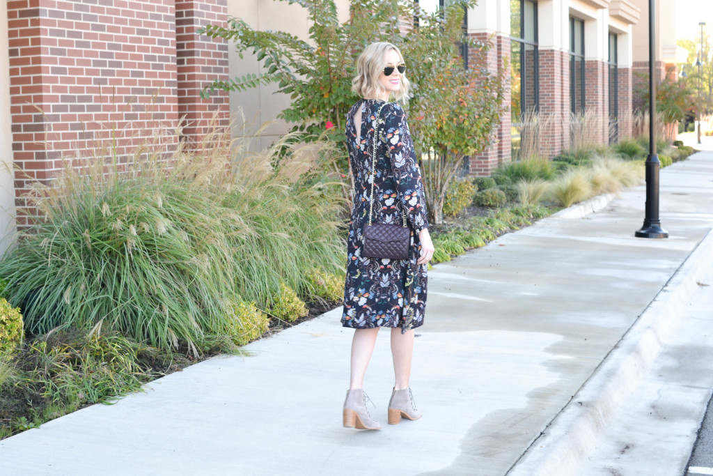 Oasap midi dress, lace up boots, Rebecca Minkoff bag