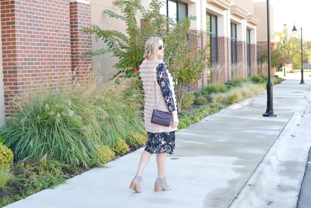 Oasap midi dress, lace up boots, Rebecca Minkoff bag, WAYF vest