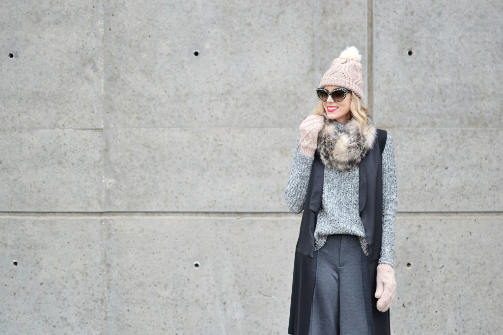 Old Navy sweater, culottes, and accessories