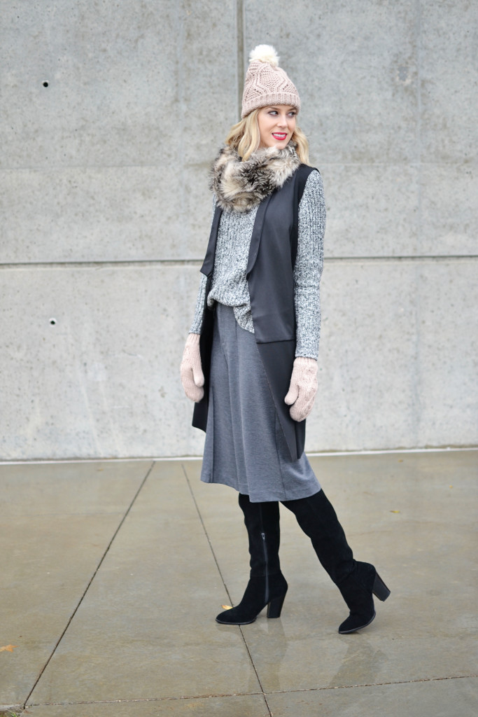 Old Navy sweater, culottes, and accessories, OTK boots