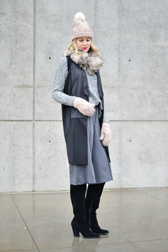 Old Navy sweater, culottes, and accessories, OTK boots, vest