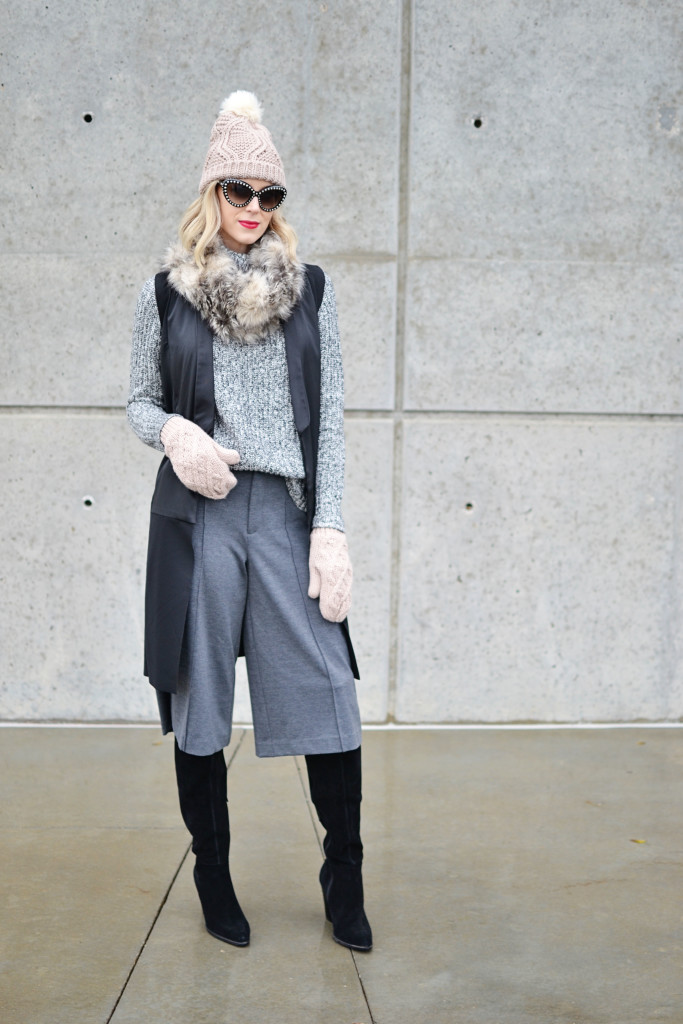 Old Navy sweater, culottes, and accessories, vest, OTK boots, Prada sunglasses