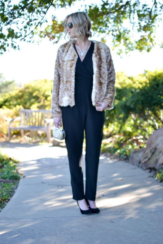 WAYF jumper, faux fur jacket, black heels