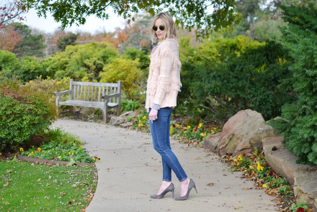 fringe cardigan, bauble bar earrings, jeans, grey teel, heels