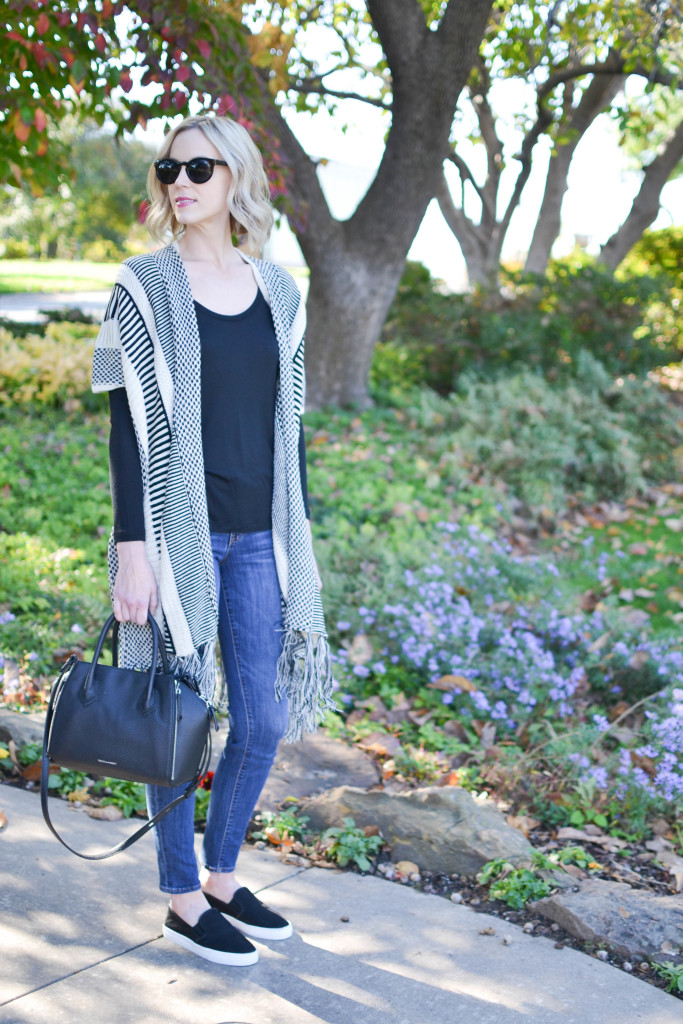 jeans, fringe cardigan, slip on sneakers, tee, black Rebecca Minkoff bag