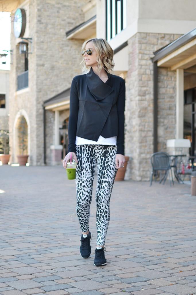 Carbon 38 leopard workout pants and black wrap jacket, black Nikes