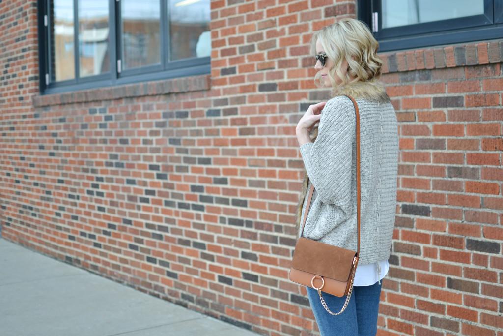 Goodnight Macaroon fur collar sweater