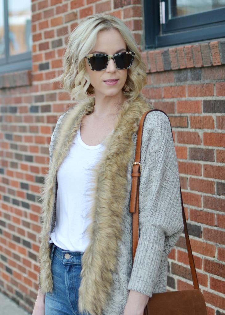 Goodnight Macaroon fur collar sweater, Mother denim, chloe dupe bag