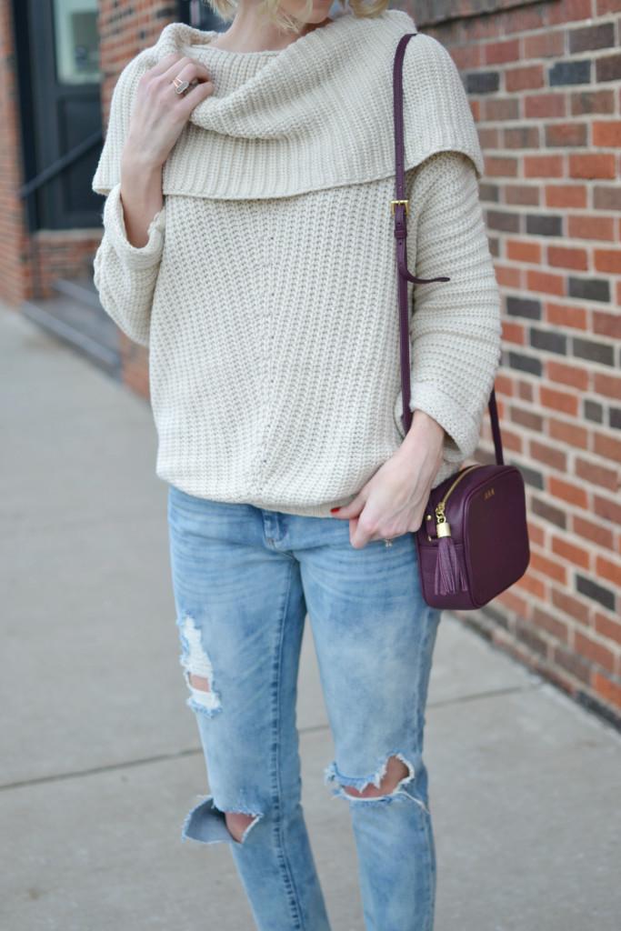 Shoe Gypsy sweater, BLANKNYC denim, GiGi NY bag