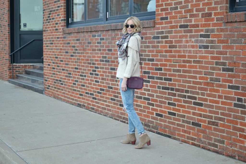 Shoe Gypsy sweater, BLANKNYC denim, berry GiGi NY bag