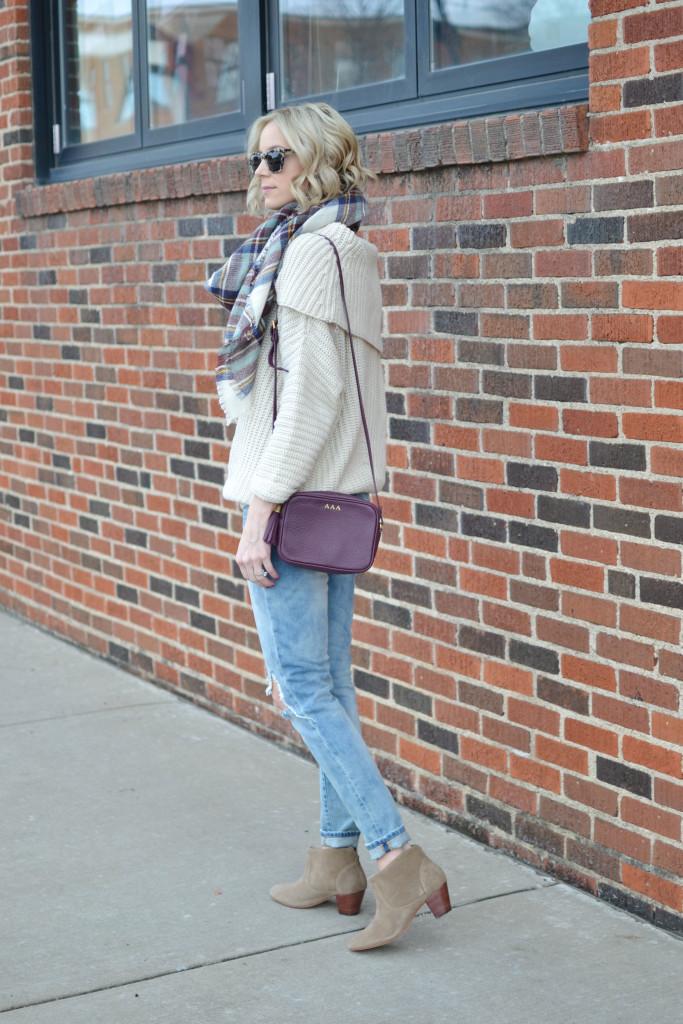 Shoe Gypsy sweater, BLANKNYC distressed denim, GiGi NY bag