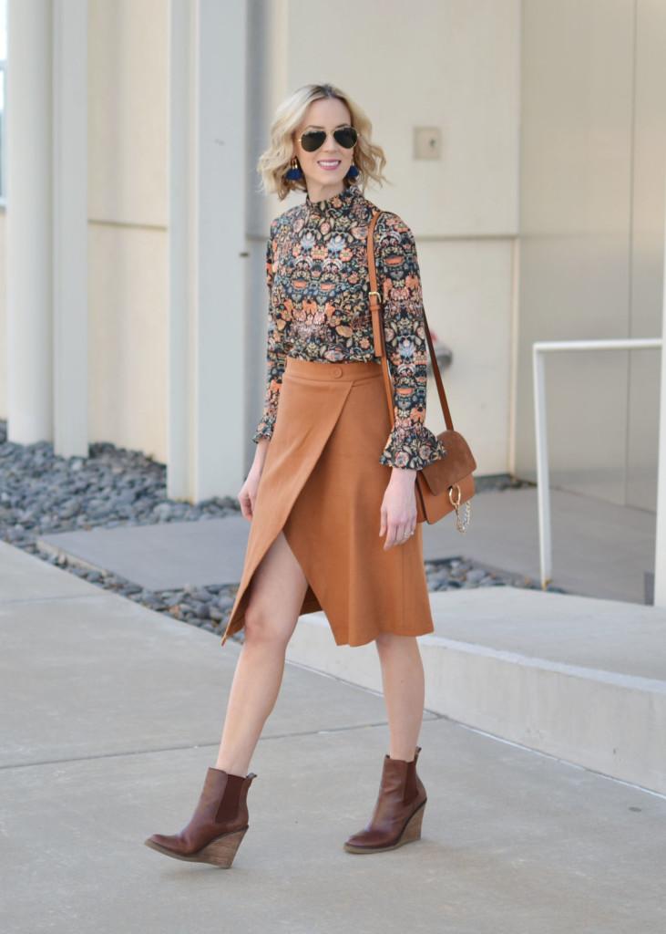 bell sleeve top, slit skirt, brown wedge boots, chloe dupe bag