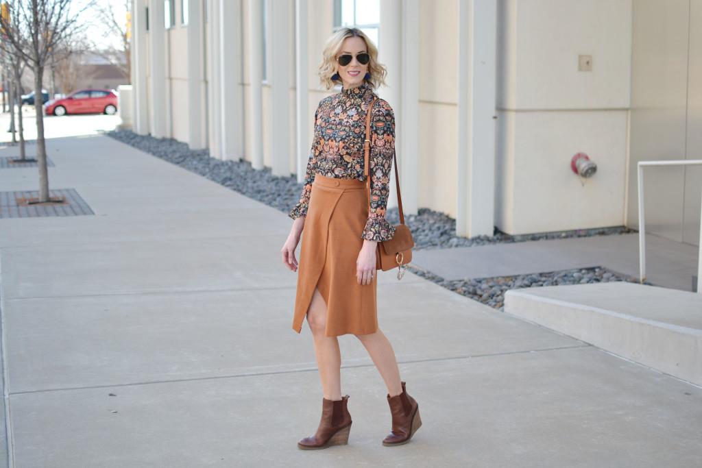 bell sleeve top, slit skirt, chloe dupe bag, brown wedge boots