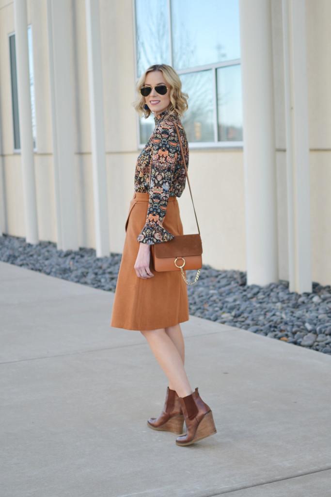 bell sleeve top, slit skirt, wedge boots