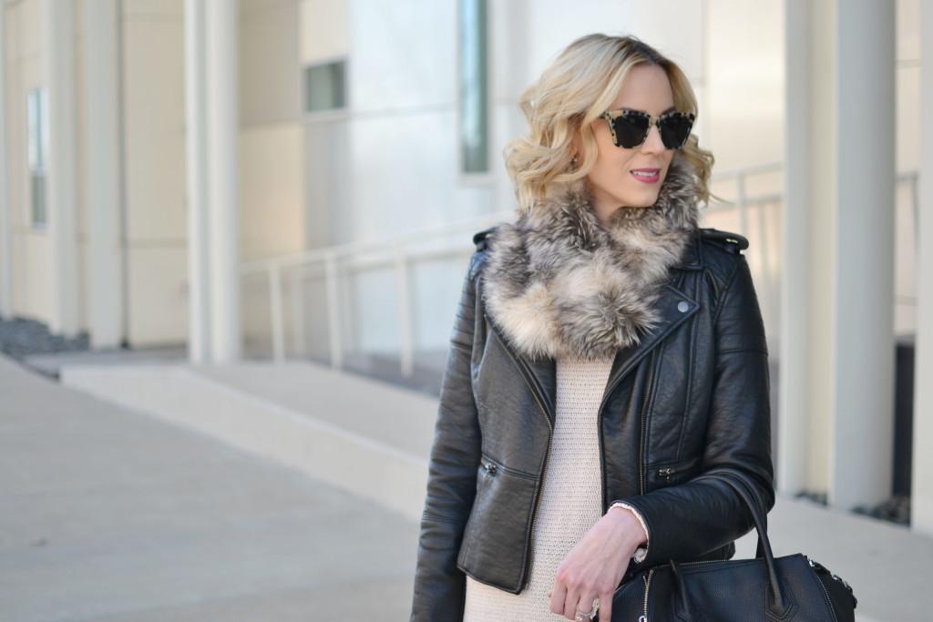 fringe hem tunic sweater, faux fur scarf, leather jacket