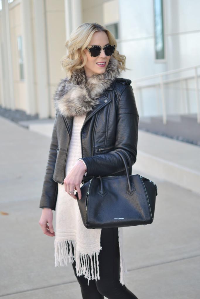 fringe hem tunic sweater, leather jacket, faux fur scarf