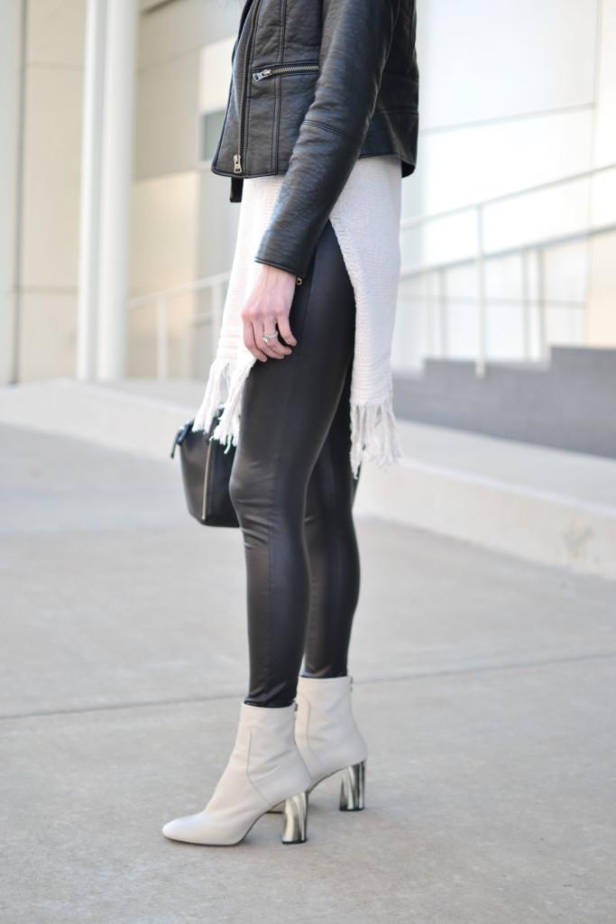 fringe hem tunic sweater, leather jacket, leather leggings