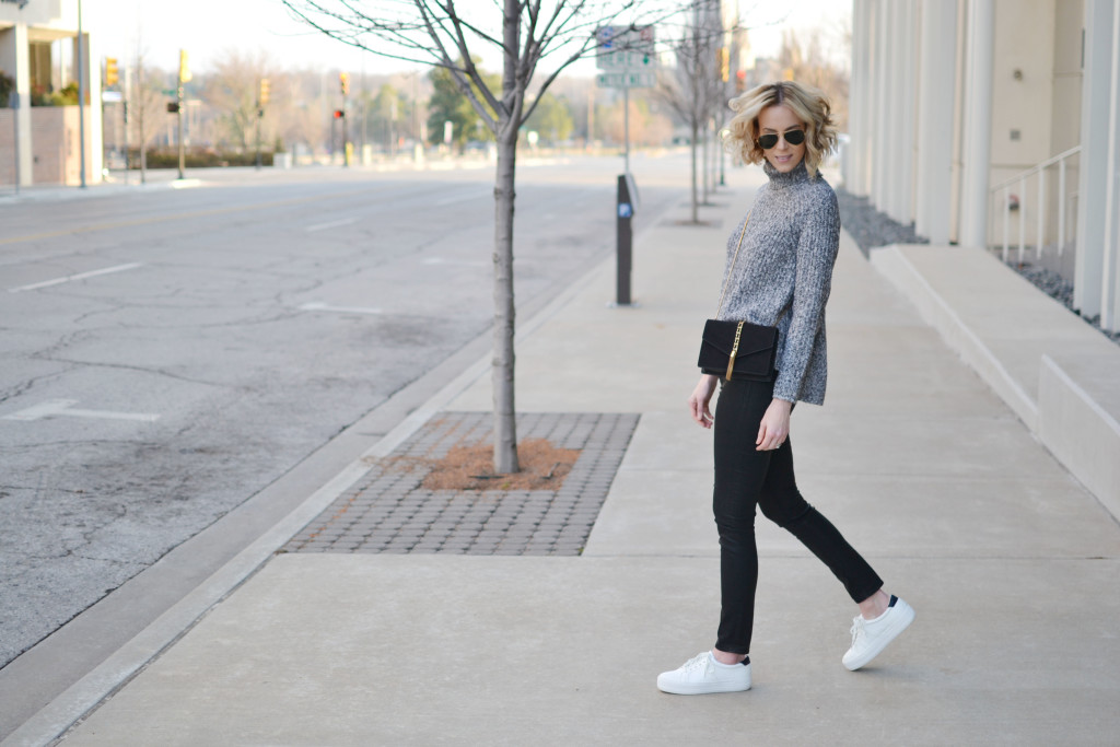 grey turtleneck, coated black jeans, black crossbody, white flatform sneakers