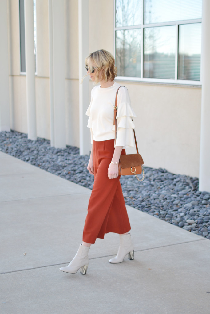 ruffle sleeve shirt, culottes, cream boots