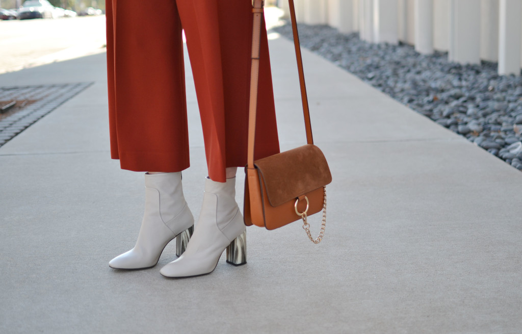 rust culottes, cream retro boots, chloe due bag