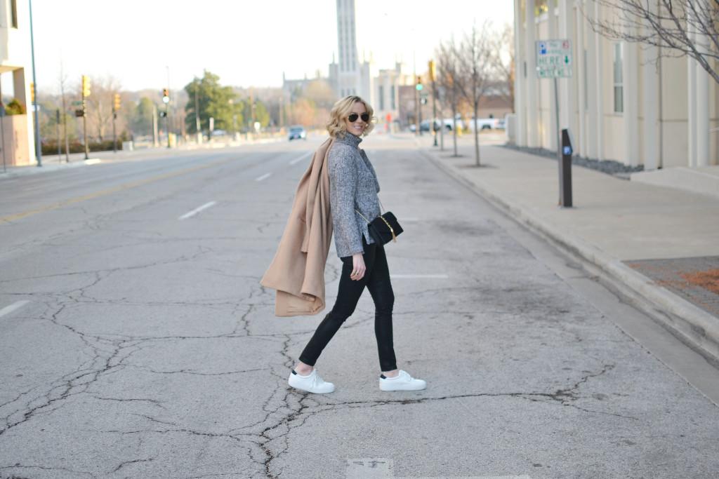 tan coat, grey turtleneck, coated black jeanstan coat, grey turtleneck, coated black jeans, black crossbody, white tennis shoes