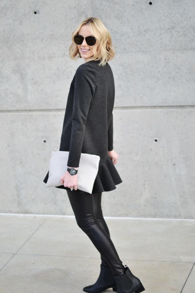 wink drop hem dress, conversation clutch, leather leggings, Charles & Keith black boots